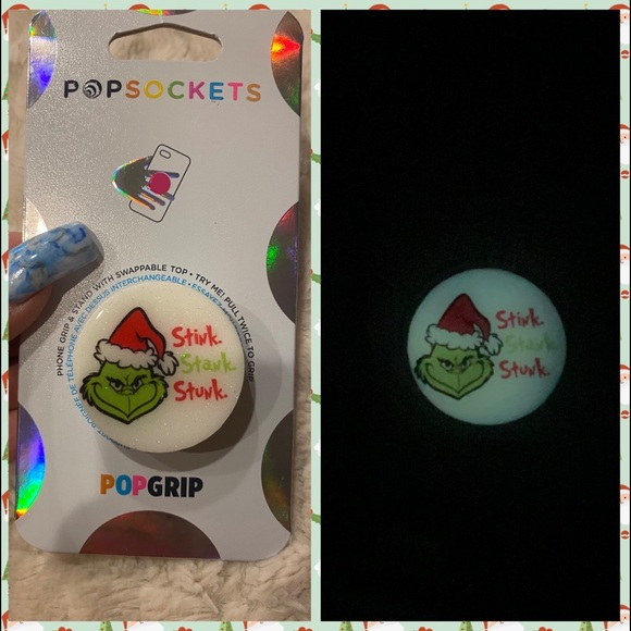 The grinch glow in the dark swappable popsocket